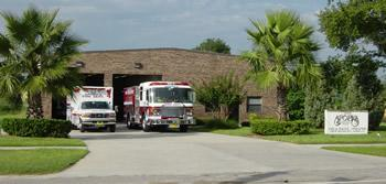 Fire truck and ambulance outside of the Apopka fire station.